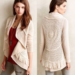 Anthropologie Knitted & Knotted Fringe Cardigan